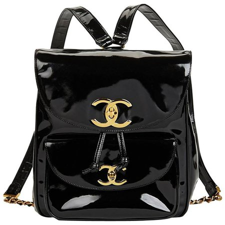 Chanel Black Patent Leather Vintage Classic Backpack