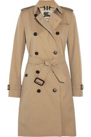 Sand The Kensington Long cotton-gabardine trench coat | Burberry | NET-A-PORTER