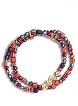 Set of 2 Mama Cranberry Tones Stretch Bracelets