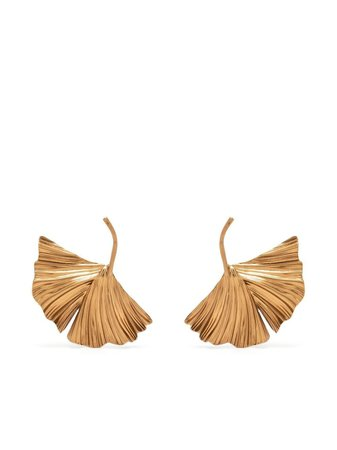 Saint Laurent oversize leaf earrings