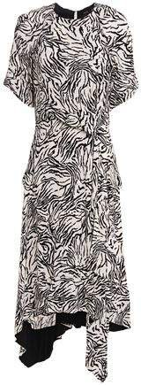 Asymmetric Wrap-effect Zebra-print Crepe De Chine Dress