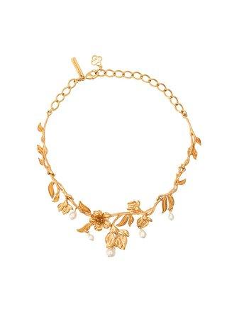 Oscar De La Renta, Pearl Flower Necklace