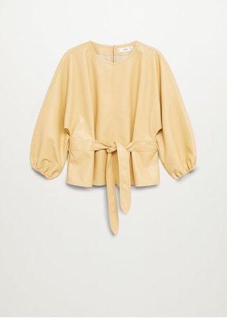 Belt faux-leather blouse - Women | Mango United Kingdom