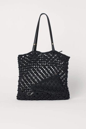Braided Bag with Clutch - Black