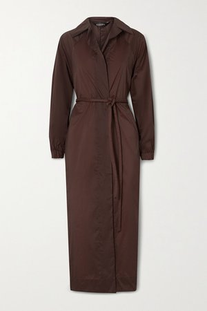 Belted Oversized Shell Trench Coat - Burgundy