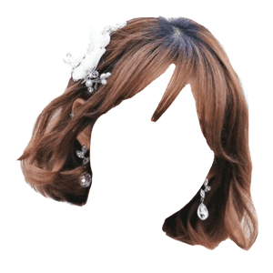 Short Brown Hair with White Flower Bangs PNG