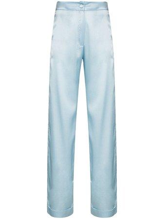 Blue Materiel high-waisted silk trousers - Farfetch