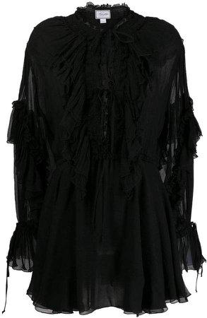 sheer ruffle flare dress