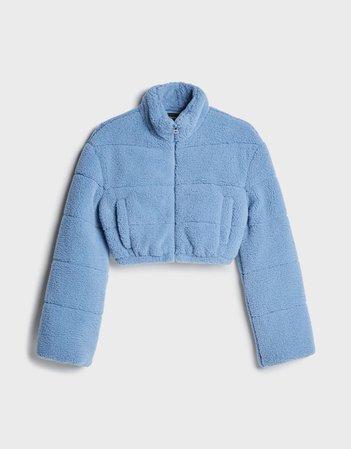 Cropped faux shearling jacket - Outerwear - Woman | Bershka blue