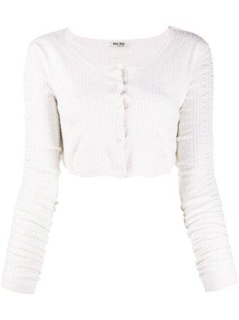 Miu Miu Cropped Knitted Cardigan - Farfetch
