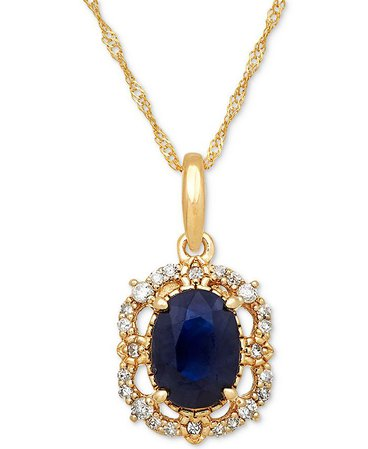 """Macy's Sapphire (1 ct. t.w.) & Diamond (1/10 ct. t.w.) Pendant 18"""" Necklace in 14k Yellow Gold (Also Available in Ruby) & Reviews - Necklaces - Jewelry & Watches - Macy's"""
