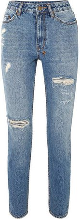 Slim Pin Distressed High-rise Jeans - Mid denim