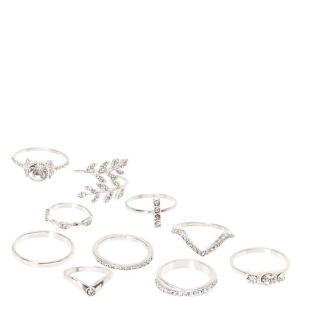 Silver Embellished Rings - 10 Pack | Claire's US