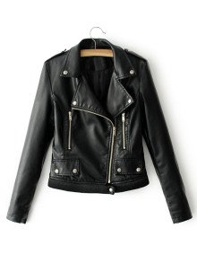 BLack Faux Leather Belted Moto Jacket With ZipperFor Women-romwe