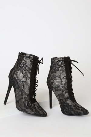 Lemon Drop by Privileged Aticus - Black Lace Boots - Lace-up Boot