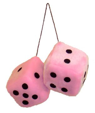 "Pink Fuzzy Dice on String 3"" 1657 - Private Island Party"