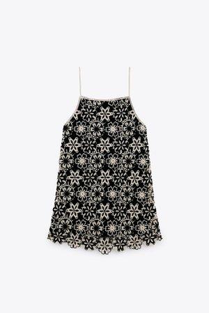 CROCHET MINI DRESS | ZARA United States black