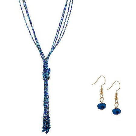 blue necklace tassel sets - Google Search