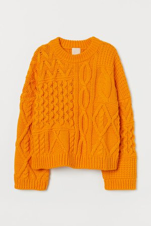 Suéter en punto trenzado - Naranja - Ladies | H&M MX