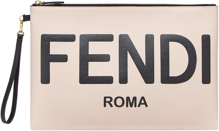 Large Logo Leather Flat Pouch