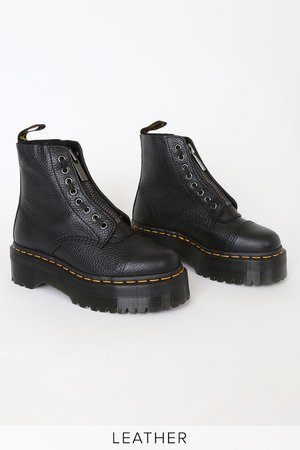 Dr. Martens Sinclair - Black Platform Boots - Leather Boots