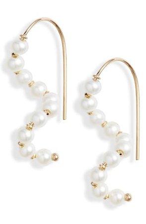 Poppy Finch Short Wave Pearl Drop Earrings | Nordstrom