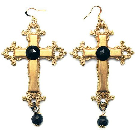 Gold Gothic Cross Earrings