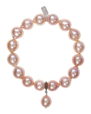 Margo Morrison Baroque Pearl Stretch Bracelet with Baroque Drop Pearl on Diamond Bale