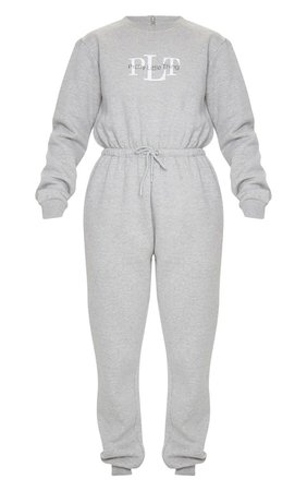 PRETTYLITTLETHING Grey Printed Sweat Jumpsuit | PrettyLittleThing USA