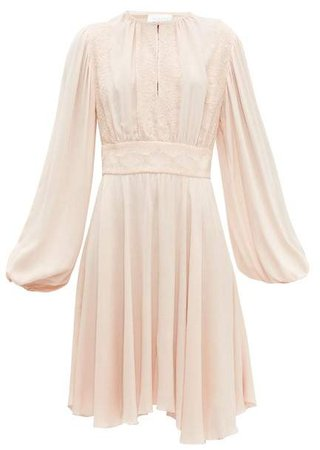 Balloon Sleeve Crepe Dress - Womens - Light Pink