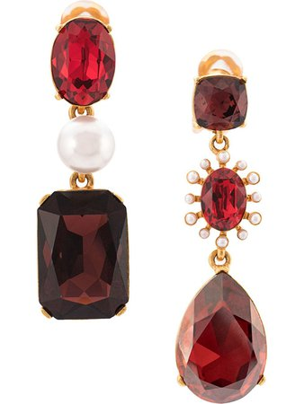 Oscar De La Renta Bold Mixed Jewel Earrings - Farfetch
