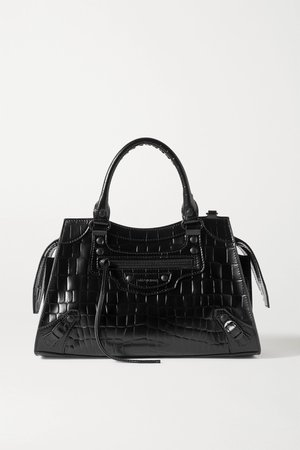 Black Neo Classic City mini croc-effect leather tote | Balenciaga | NET-A-PORTER