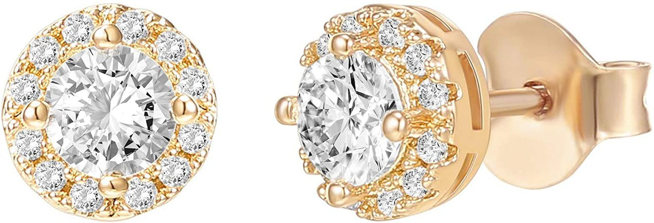 Amazon.com: PAVOI 14K Gold Plated Sterling Silver Post Round Halo Cubic Zirconia Stud Earrings in Yellow Gold: Clothing
