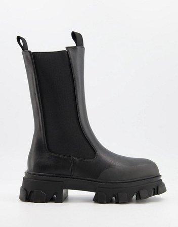 Public Desire Boston chunky chelsea boots in black | ASOS