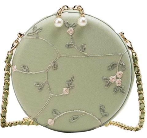 Green Bag w/ Pink Flowers