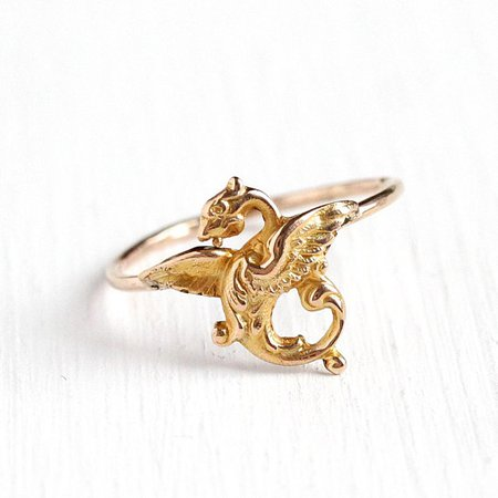 Antique Dragon Ring Vintage 10k Yellow Gold Early 1900s