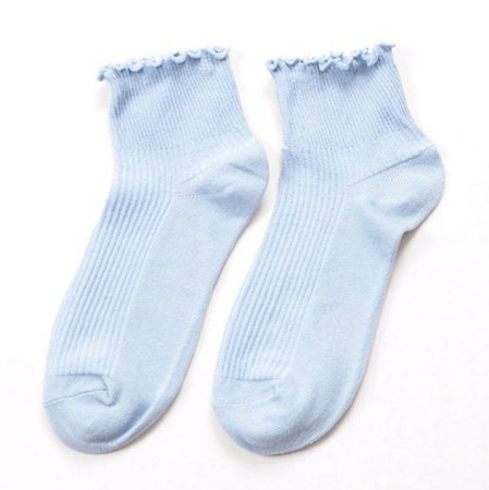 Light Blue Frilly Ankle Socks