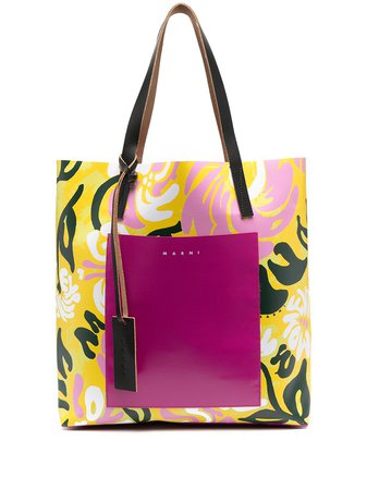 Shop yellow & pink Marni abstract-print logo tote bag with Express Delivery - Farfetch