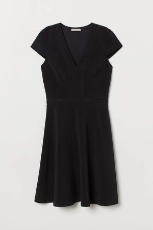 Lace-trimmed Dress - Black