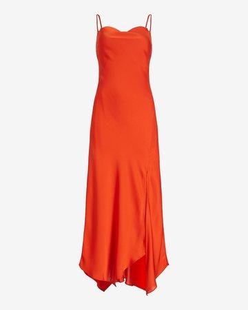 Satin Cowl Neck Maxi Slip Dress   Express