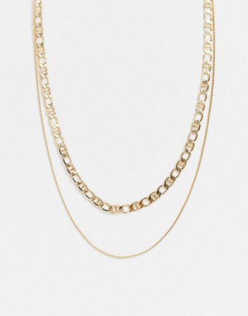 Pieces double mixed chain necklace in gold | ASOS