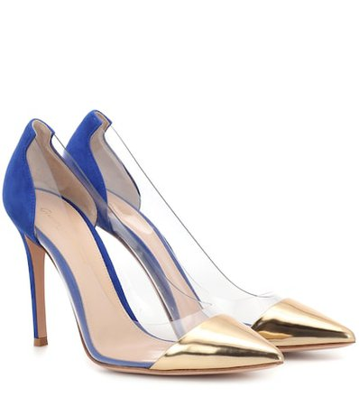 Plexi leather and suede pumps