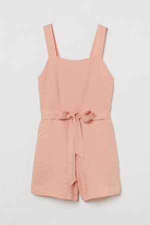 Linen-blend Romper - Apricot - Ladies | H&M US