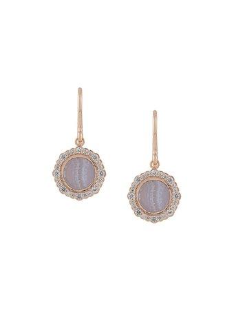 Metallic Astley Clarke Lace Agate Luna Drop Earrings | Farfetch.com