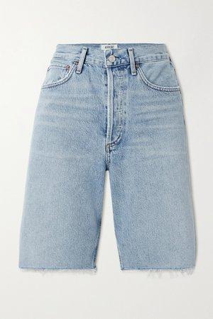 Light denim '90s frayed denim shorts | AGOLDE | NET-A-PORTER