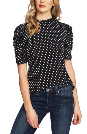 CeCe Polka Dot Puff Sleeve Top | Nordstrom