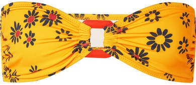 The Tati Floral-print Bandeau Bikini Top - Yellow