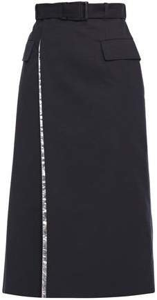 Belted Layered Shell And Twill Midi Wrap Skirt