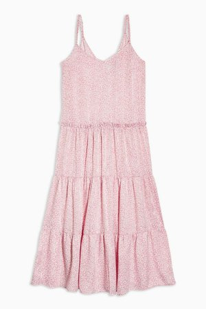 Pink Floral Tiered Satin Slip Dress | Topshop