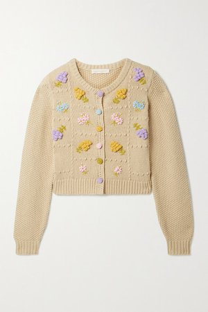 Briallon Embroidered Knitted Cardigan - Beige